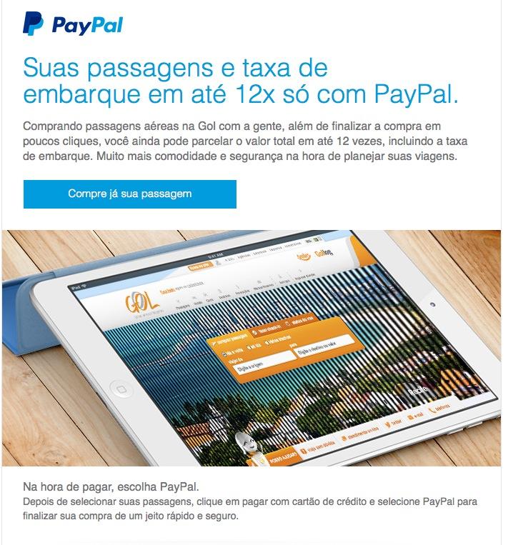 PayPal oferece parcelamento em até 12 vezes em compras de passagens aéreas da Gol