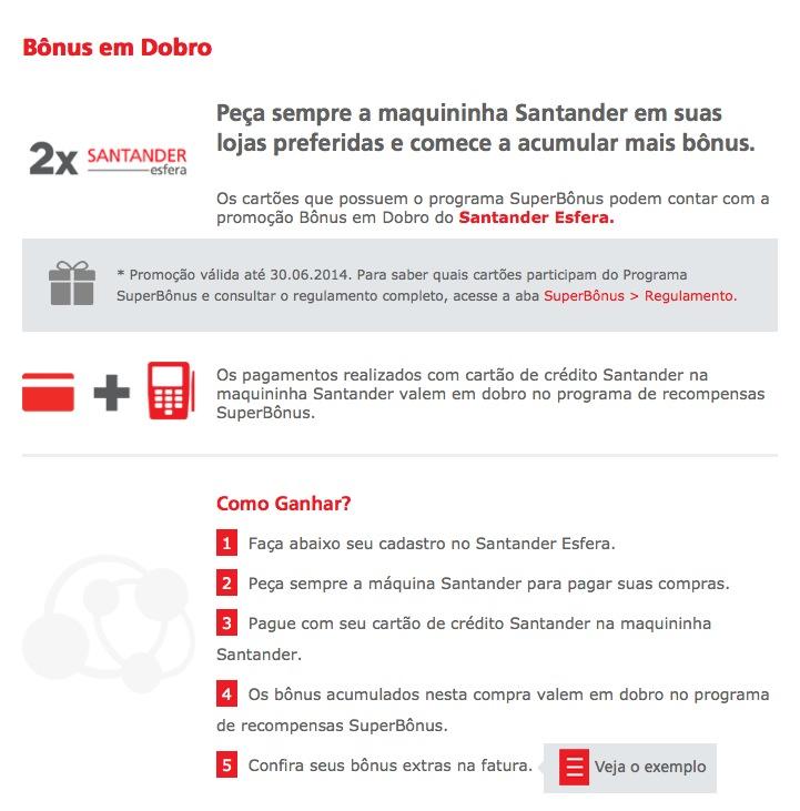 Santander oferece bônus em dobro nas maquininhas Santander até 30/06/2014