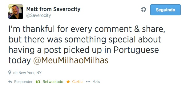 Tweet do Matt