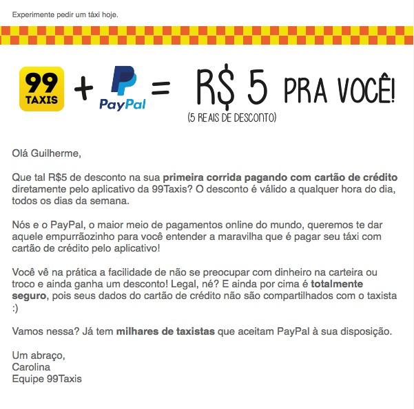 Ganhe R$ 5 de desconto na corrida de táxi, na parceria entre a 99Taxis e PayPal