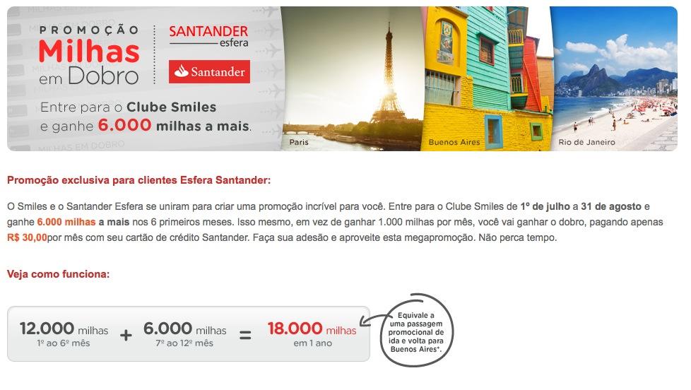 Promoção Clube Smiles com Santander oferece 18 mil milhas em 1 ano, ao custo de R$ 30 mensais (R$ 360 anuais)