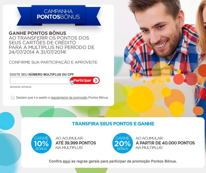 Multiplus Fidelidade lança nova promoção de bônus de 10% e 20% [julho de 2014]