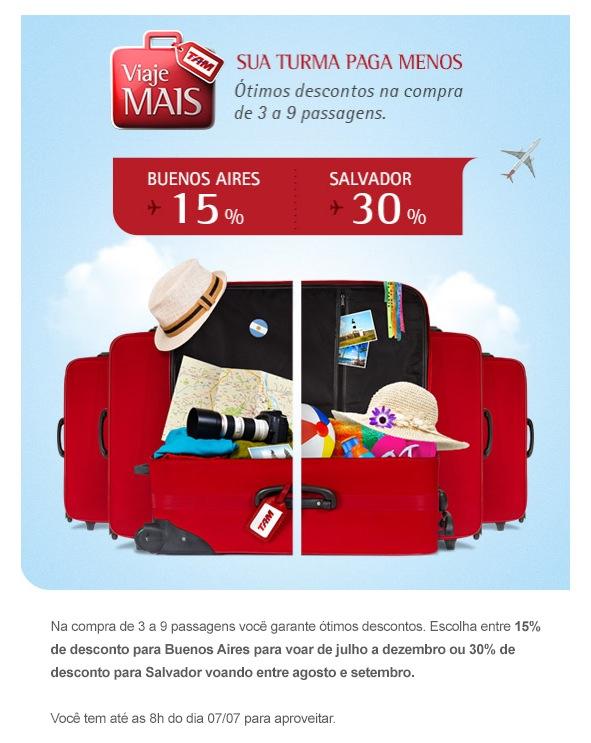 TAM oferece descontos para Buenos Aires (15%) e Salvador (30%) nas compras de múltiplas passagens
