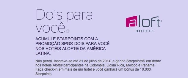 Promoção da Starwood Preferred Guest (SPG) oferece pontos em dobro e até 10.000 Starpoints de bônus
