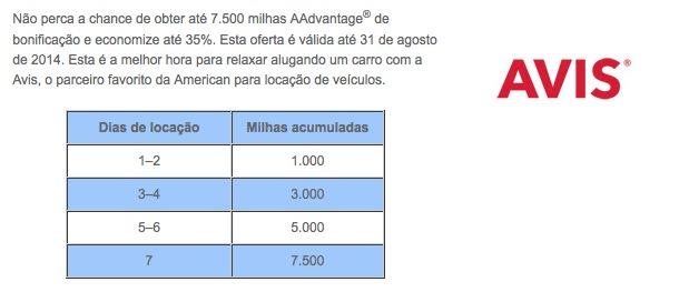 Promoção da parceria entre a Avis e o AAdvantage oferece até 7.500 milhas de bonificação