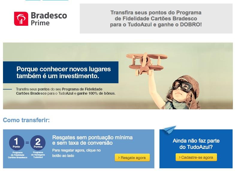 Bradesco Prime oferece pontos em dobro para transferências para o Tudo Azul