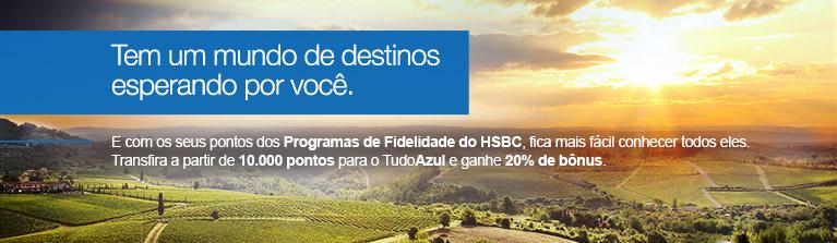 Tudo Azul oferece 20% de bônus nas transferências de pontos do HSBC