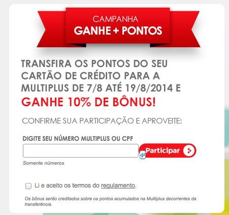 Mais do mesmo. Promoção da Multiplus dá 10% de bônus nas transferências de cartões de crédito [agosto de 2014]