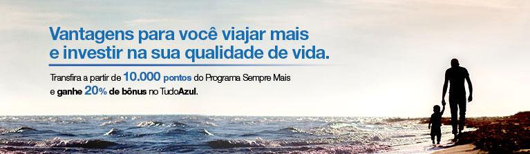 Tudo Azul oferece 20% de bônus nas transferências de pontos do Banco Mercantil