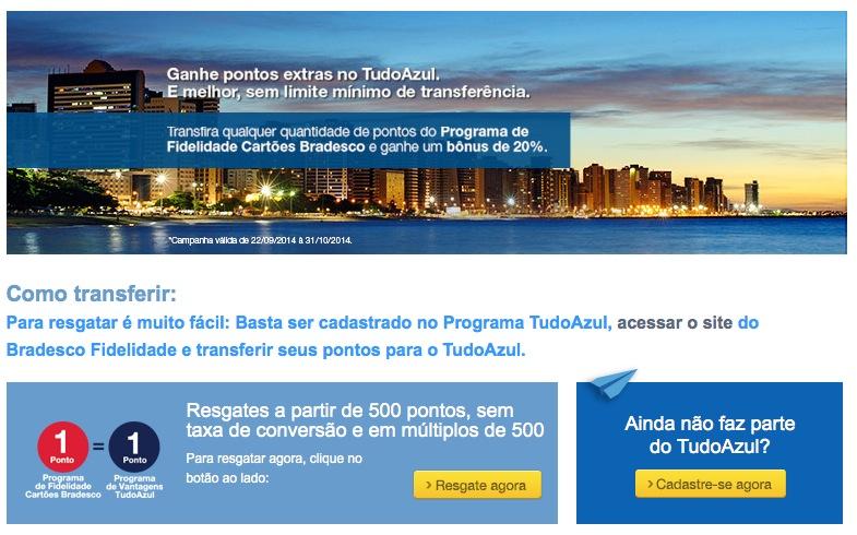 Bradesco oferece bônus de 20% nas transferências para o Tudo Azul