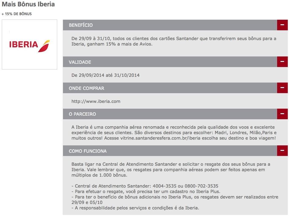 SuperBônus Santander oferece 15% de bônus nas transferências para o Iberia Plus