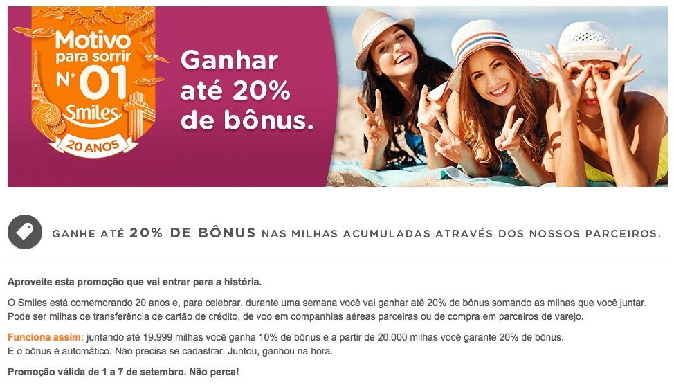 Smiles lança promoção de 10% e 20% de bônus [setembro de 2014]