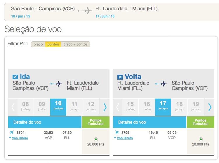 Azul vende passagens para os EUA por 40 mil pontos ida e volta (20 mil cada perna)
