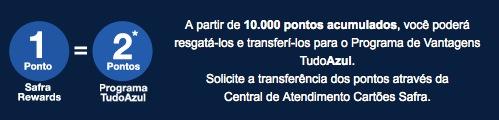 Tudo Azul oferece bônus de 100% nas transferências de pontos dos cartões de crédito Safra