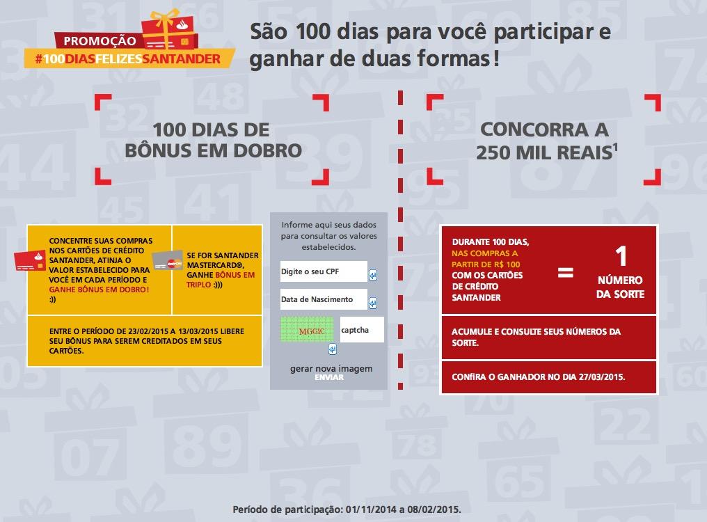 Santander lança promoção oferecendo bônus em dobro e em triplo nas compras com cartões de crédito