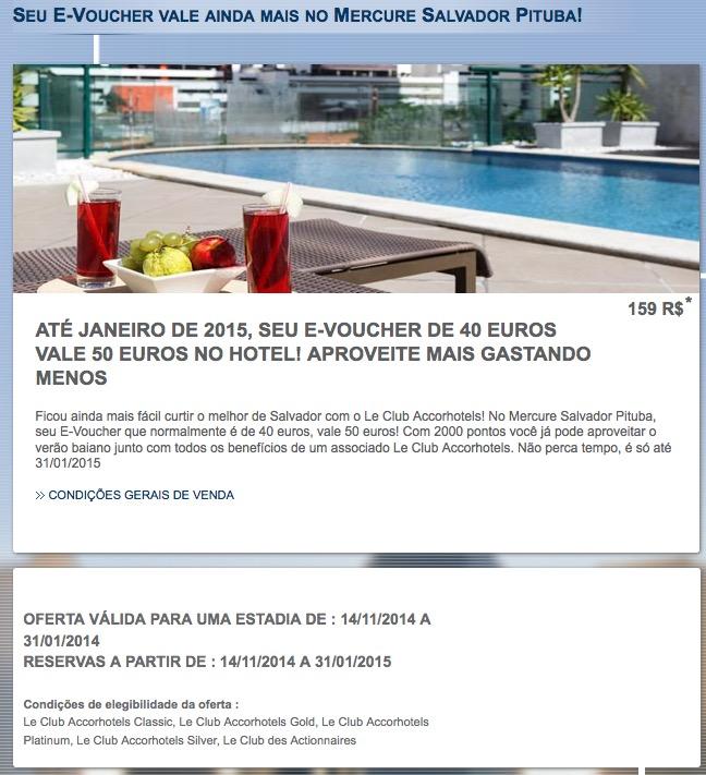 Accor lança promoção específica para o Mercure Salvador Pituba, onde um voucher de 40 euros vale 50 euros