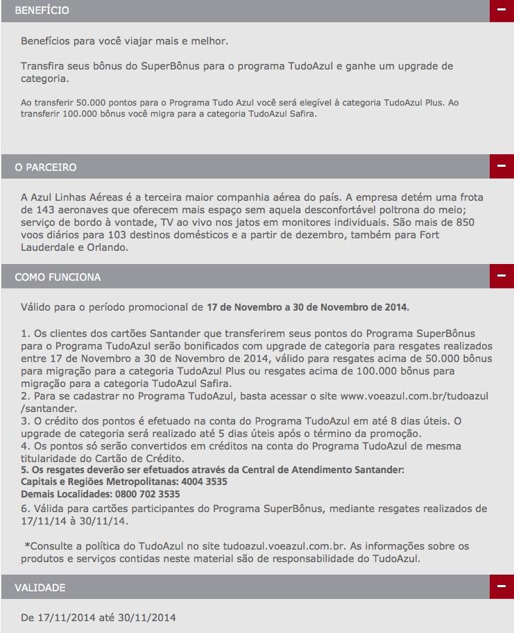 Tudo Azul oferece (apenas) upgrade de categoria para clientes Santander que transferirem a partir de 50.000 pontos
