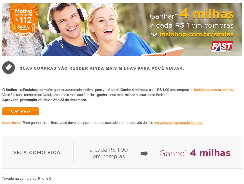 FastShop oferece até 4 milhas Smiles para cada 1 real em compras