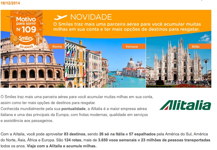 Alitalia é a nova parceira do Smiles