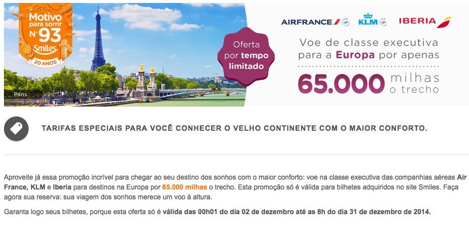 Smiles tem passagens em Classe Executiva para a Europa com Air France, Iberia e KLM por 65.000 o trecho