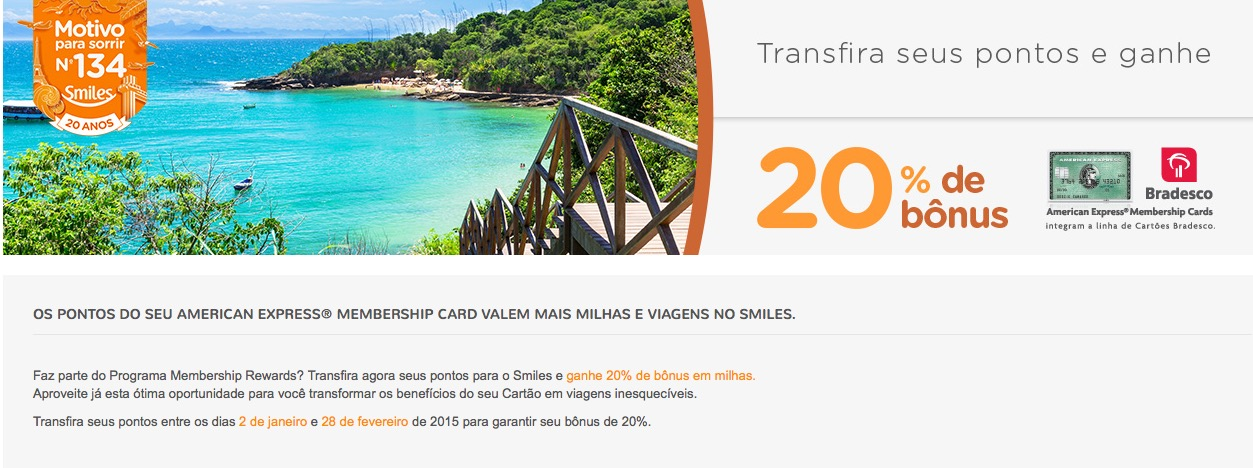 Valendo! Bônus de 20% no Smiles nas transferências oriundas do Membership Rewards, da Amex