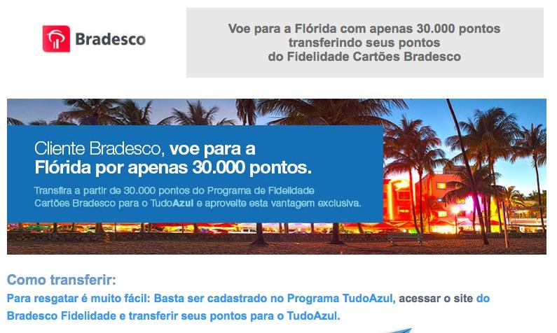 Clientes Bradesco voam para a Florida usando 30.000 pontos Tudo Azul