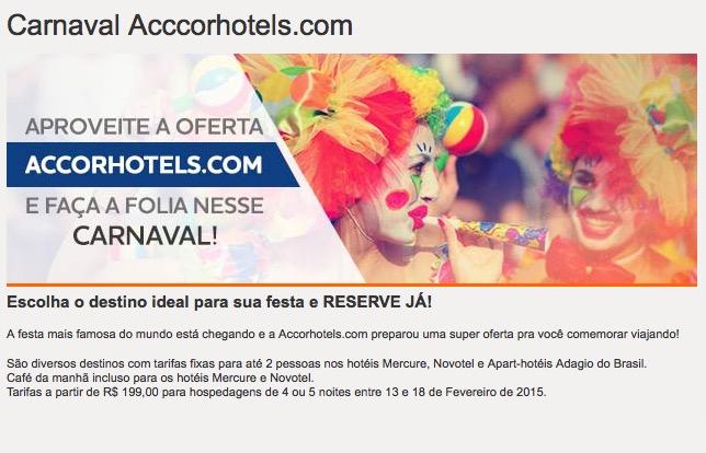 Promoção de Carnaval dos hotéis da rede Accor tem tarifas a partir de R$ 199 e café da manhã incluído, em hotéis selecionados