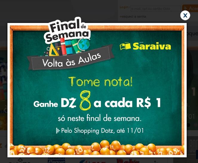 Saraiva oferece 8 Dotz para cada 1 Real nesse final de semana