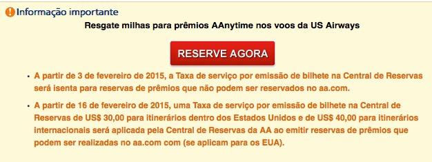 [Exclusivo!] Boa notícia: American Airlines não cobra mais taxas de emissão por telefone (USD 35) de prêmios que não podem ser resgatados online