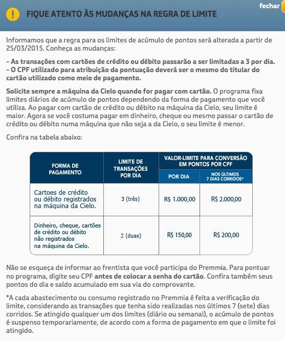 Petrobras Premmia estabelece regras que limitam o acúmulo de pontos