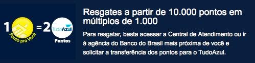 Tudo Azul oferecerá o dobro de pontos para quem transferir pontos dos cartões Ourocard, do Banco do Brasil