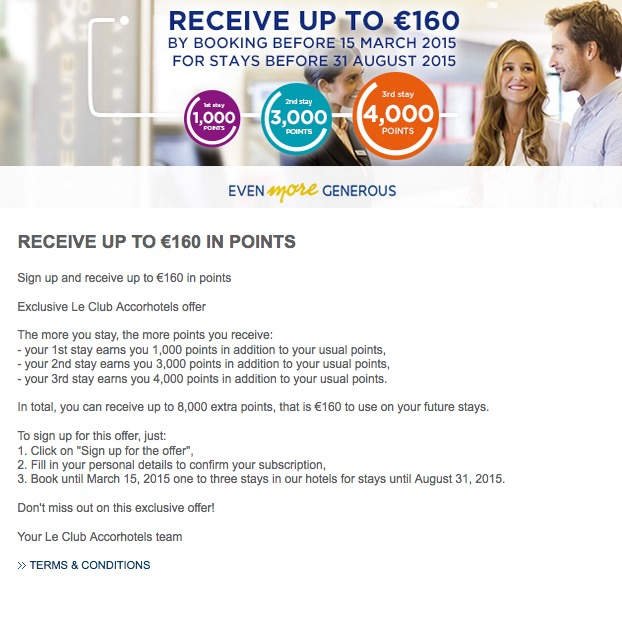 Promoção da Accor Le Club oferece até 160 euros em pontos [versão 2015]