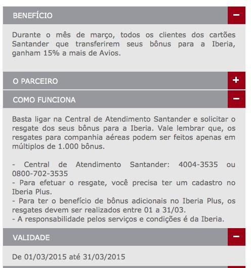 Santander oferece 15% de bônus nas transferências para o Iberia Plus, e desconto de 15% (Executiva) e 10% (Econômica) na emissão de bilhetes Iberia