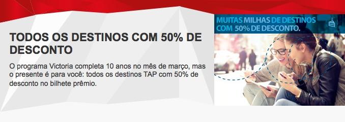 TAP Victoria anuncia promoção com desconto de 50% na emissão de passagens com milhas