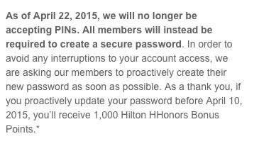 Ganhe 1.000 pontos Hilton Honors apenas mudando sua senha
