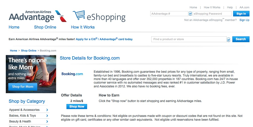 AAdvantage Booking.com