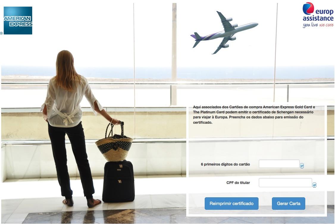 American Express agora permite emissão online dos certificados de Schengen
