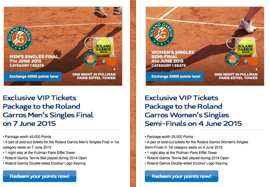 Le Club oferece troca de pontos por pacotes promocionais para Roland Garros com ingressos e 1 noite no Pullman Paris Torre Eiffel