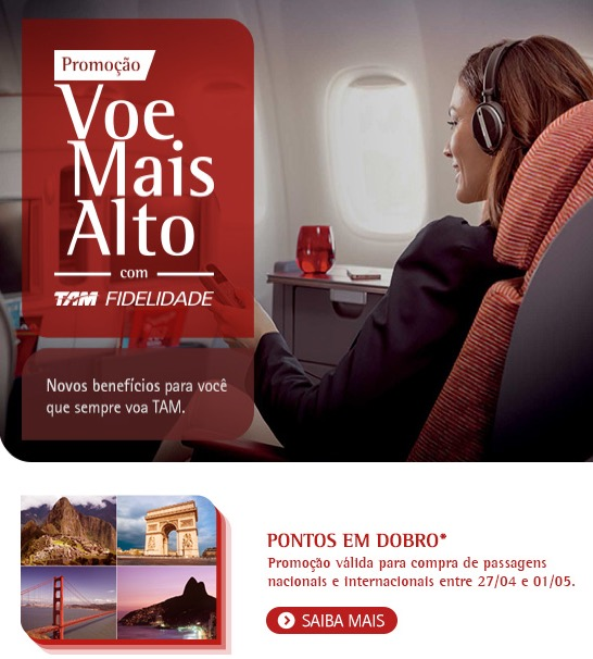 TAM oferece pontos em dobro no TAM Fidelidade nas compras de passagens entre hoje e 01/05/2015