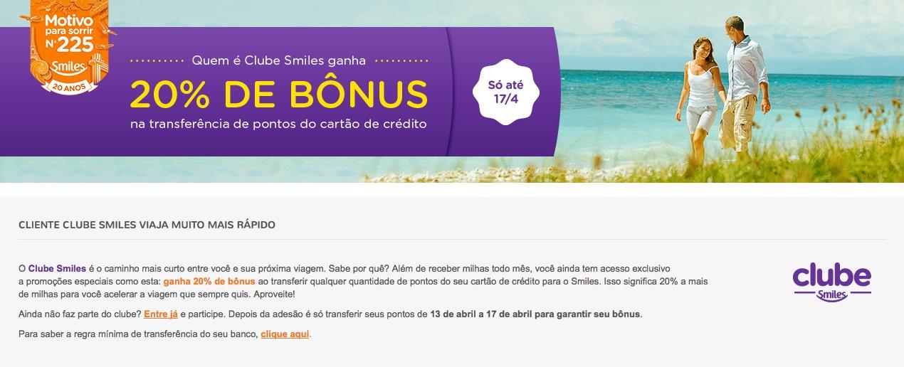 Clube Smiles oferece 20% de bônus nas transferências de cartões de crédito