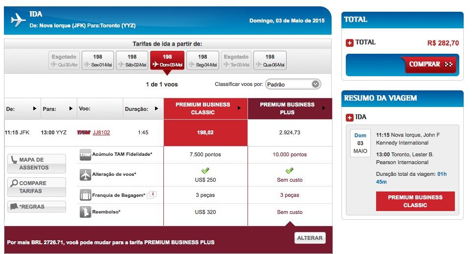 ALERTA DE TARIFAS! Passagens em classe executiva TAM de Nova York para Toronto por menos de R$ 300, com taxas inclusas (e acumulando 7.500 pontos no Multiplus)
