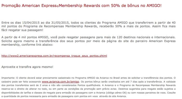Amigo Avianca oferece 50% de bônus nas transferências a partir de 40 mil pontos dos cartões American Express