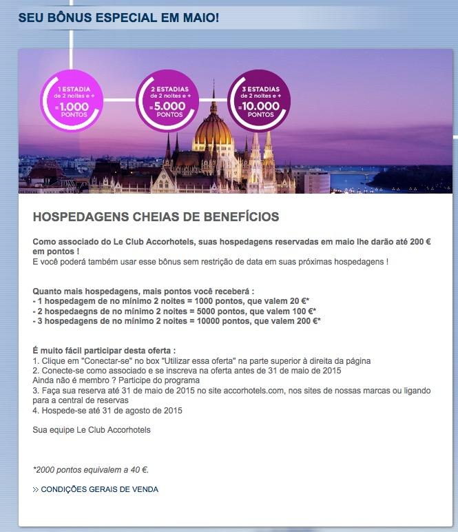 VOLTOU!!! Promoção Accor Le Club oferece até 200 Euros (10 mil pontos) em bônus! [maio de 2015]