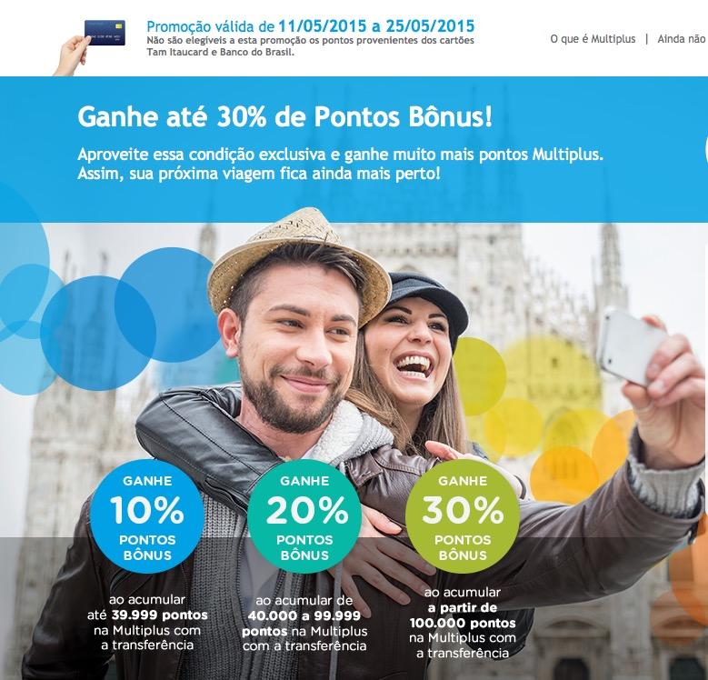 [Maio de 2015] Multiplus lança suas tradicionais promoções mensais fixas: bônus de 10%, 20% ou 30%, e bônus de 30% para aniversariantes de maio