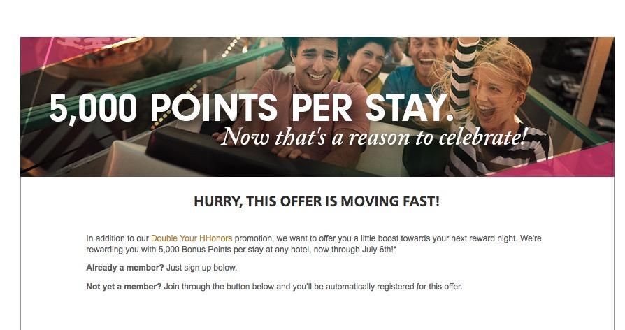 Hilton Honors oferece 5.000 pontos bônus por estadia até 6 de julho