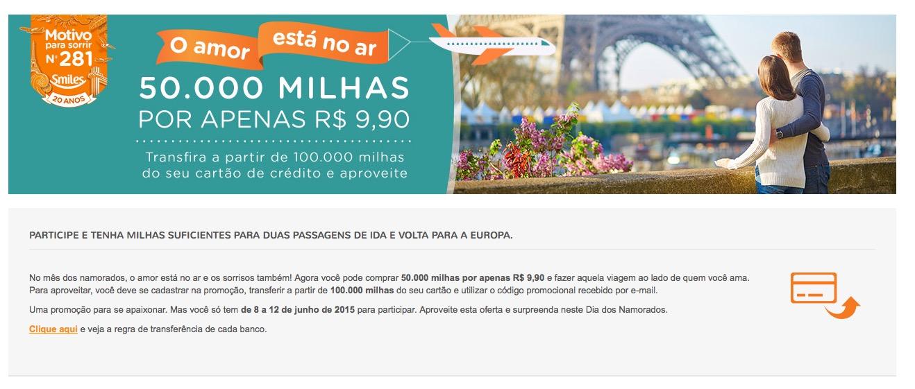 Smiles oferece bônus de 50% (50.000 milhas) para transferências de exatos 100.000 pontos de cartões de crédito, ao custo de R$ 9,90