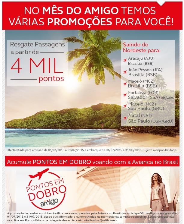 Novidades Amigo Avianca: acumulação de pontos em dobro em viagens, resgates de 4 mil pontos, e transferências com bônus de 100%
