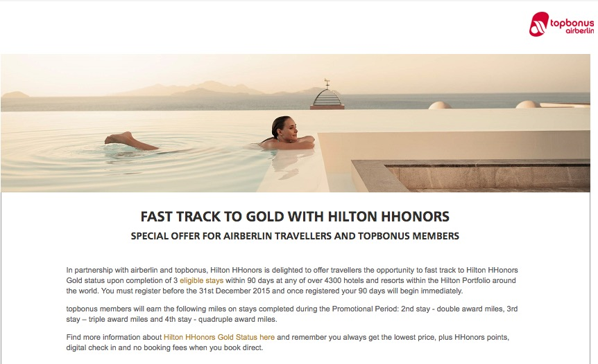 Promoção permite conquistar status Hilton Honors Gold com apenas 3 estadias