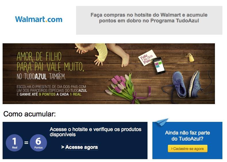 Ganhe 6 pontos Tudo Azul para cada 1 real gasto na Walmart
