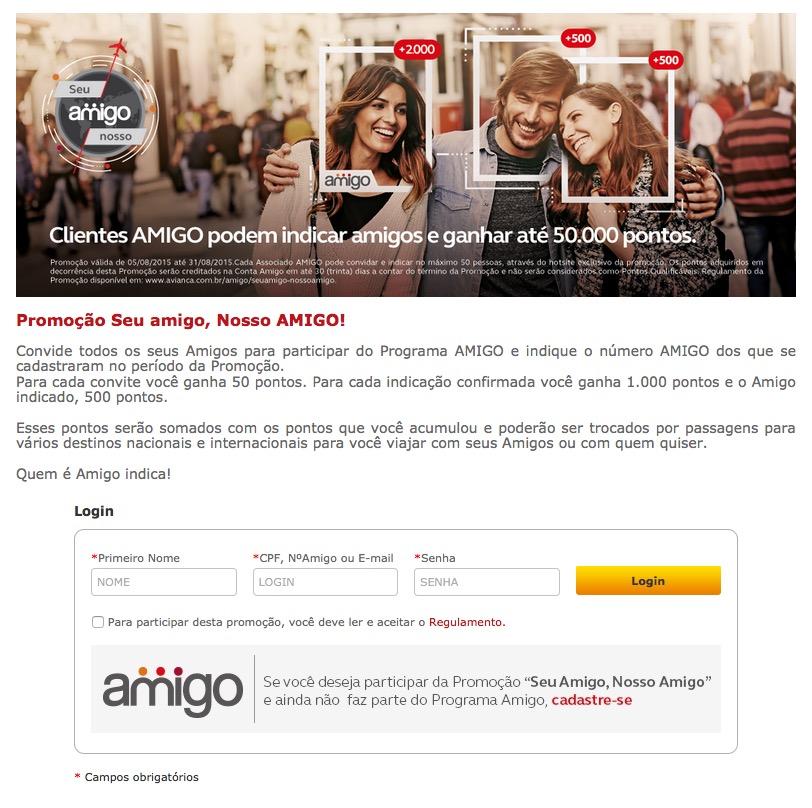 Clientes Amigo Avianca ganham até 50.000 pontos indicando amigos para se inscreverem no programa